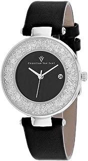 Christian Van Sant Women's Dazzle Stainless Steel Quartz Leather Strap, Black, 16 Casual Watch (Model: CV1221)