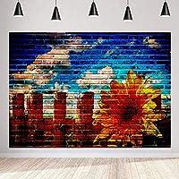 写真のひまわりと都市の色の壁のためのHD抽象芸術の落書きの背景落書きアートの背景落書きアートパーティーの装飾バナー7x5ftLSMT1211