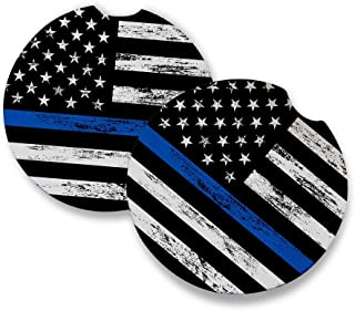 Thin Blue Line   Car Coasters for drinks Set of 2   Perfect Car Accessories with absorbent coasters. Car Coaster measures 2.56 inches with rubber backing.