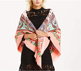 Fashion Autumn and Winter Long Shawl 130cm Cashmere Scarf Cold Warm Super Large Square (Color : 01, Size : 130 * 130cm)