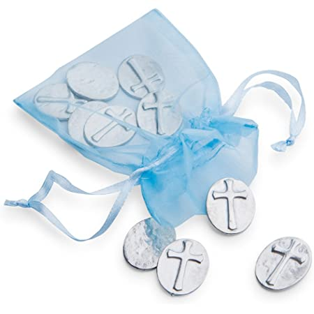 DANFORTH – Vilmain Cross Tokens/Coins, Pewter, Made in The USA, Gift Bag (Pack of 10)