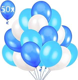 comprar comparacion 50 Globos Azul Blanco y Turquesa Brilante de 36 cm. Globos de Látex de 3,2g. por Helio. Decoraciones y Accesorios para Fie...