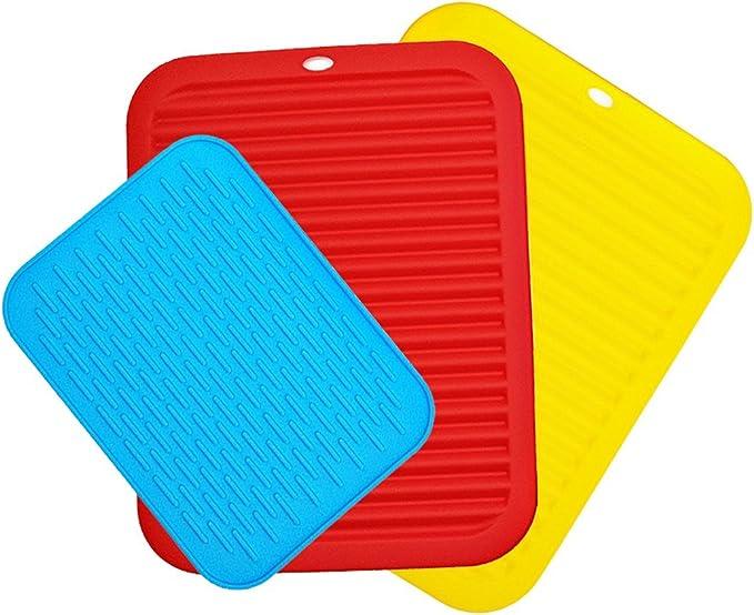 13 opinioni per 3 pezzi Sottopentola in Silicone, CNYMANY 21 30 cm Flessibile Trivets Stuoie di