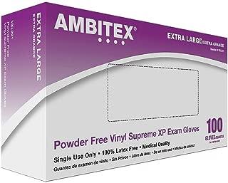 Tradex International Powder-Free Stretch Vinyl Exam Gloves, X-Large, White, Box of 100