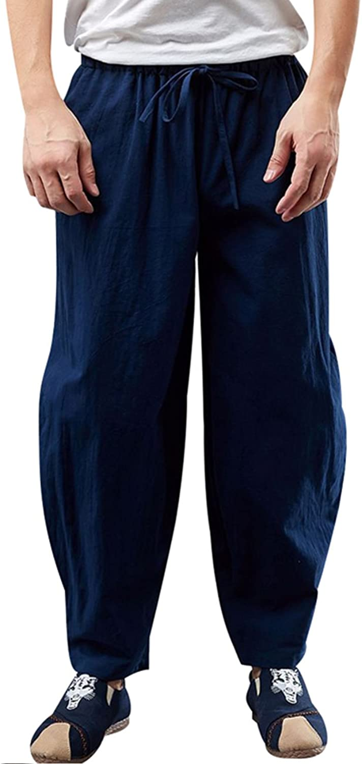 Zoulee Men's Drawstring Trousers Loose Feet Pants Cotton and Linen Pants
