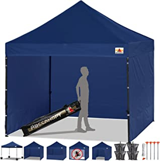 ABCCANOPY Canopy Tent Popup Canopy 10x10 Pop Up Canopies Commercial Tents Market stall with 6 Removable Sidewalls and Roller Bag Bonus 4 Weight Bags and 10ft Screen Netting and Half Wall, Navy Blue