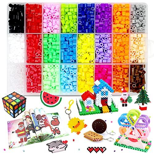 Juego de 7800 cuentas de fusibles para niños con 2 tableros, 4 papeles de planchado, 3 pinzas, 60 patrones y accesorios para llaveros