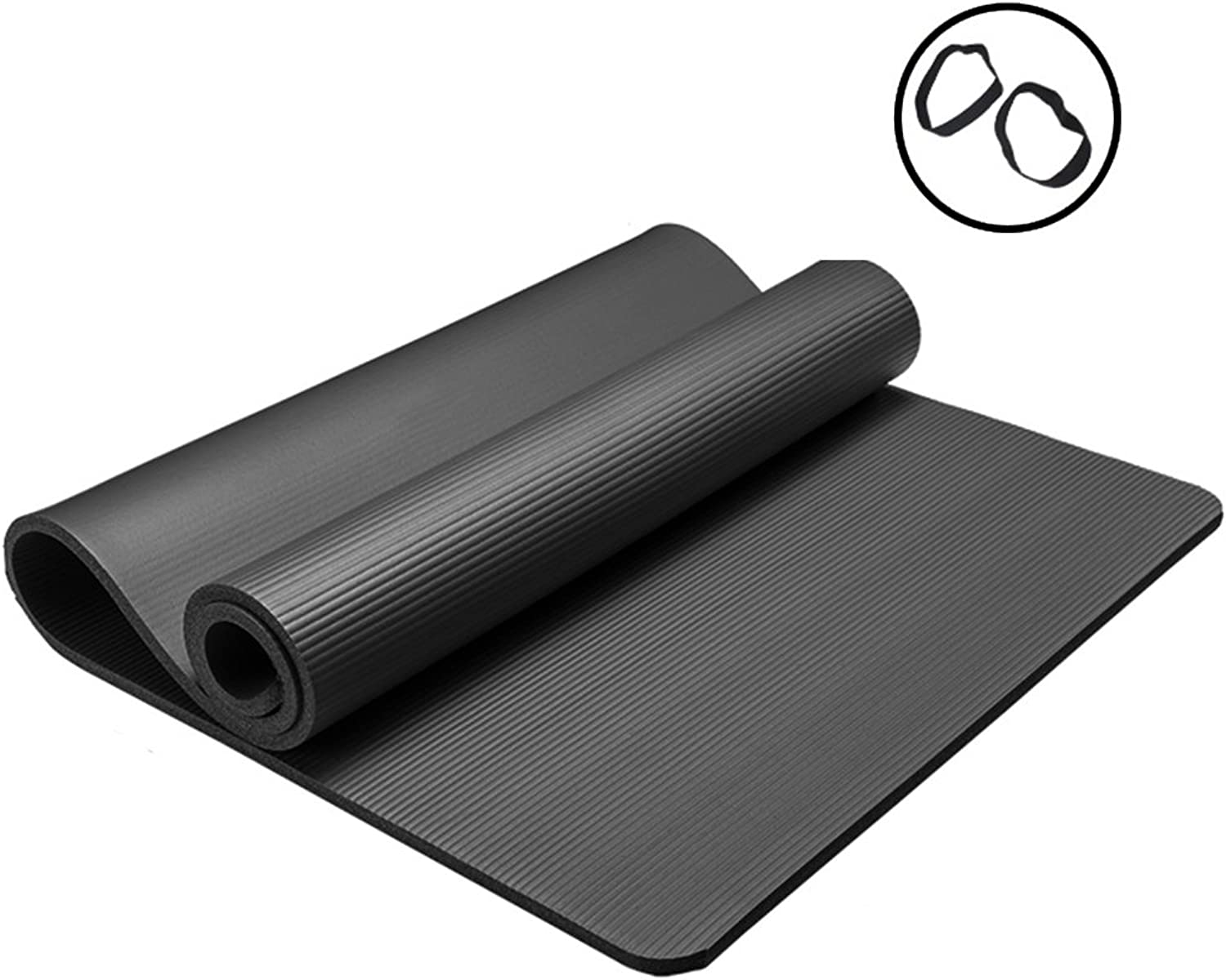 Nbr Rubber Yoga mat Thickening Fitness Camping Dance mat Anti-Slip 31.5  72.8  0.4in (color   Black, Size   80  185  1cm)