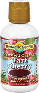 Dynamic Health Organic Tart Cherry | Unsweetened 100% Juice Concentrate | Vegan, No Gluten or BPA | 16oz, 16 Servings