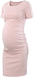 Women's Maternity Bodycon Ruched Side Dress Casual Short & 3/4 Sleeve Dress for Daily Wearing Or Baby Shower