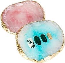 Tagaremuser - Juego de 2 paletas de uñas de resina para dibujar paletas de colores, paleta de colores para manicura, color azul y rosa