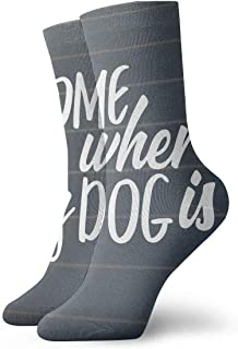 tyui7, Home is Where My Dog is Antideslizante Calcetines de compresión Cosy Athletic 30cm Crew Calcetines para hombres, mujeres, niños