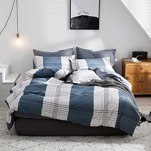 d88f5983df6c1 Blue Gingham Duvet Cover Single and 1 Pillowcase Reversible 100% Breathable  Cotton Stripes Design