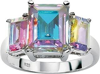 Sterling Silver Emerald Cut Aurora Borealis Cubic Zirconia 3 Stone Ring