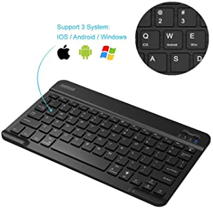 Arteck HB030B Universal Slim Portable Wireless Bluetooth 3.0 7-Colors Backlit Keyboard with Built in Rechargeable Bat...