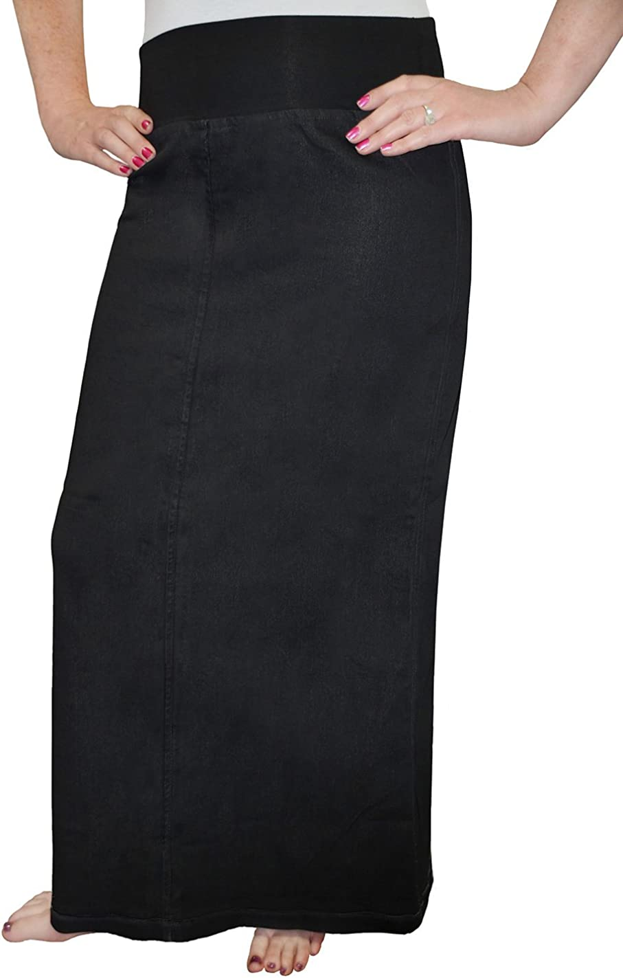 Kosher Casual Women's Modest Straight Maxi Length Denim Skirt Stretch Waistband No Slits