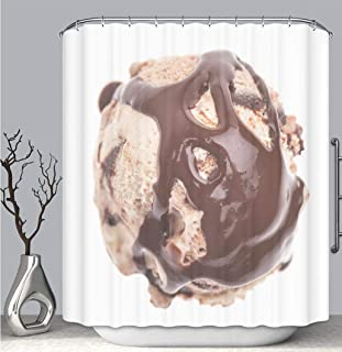 BEICICI Color Shower Curtain Liner Anti-Mildew Antibacterial, Tiramisu ice Cream Scoop Topped with Chocolate Sauce top View Multi-Color,Custom Shower Curtain Bathtub Bathroom Accessories.