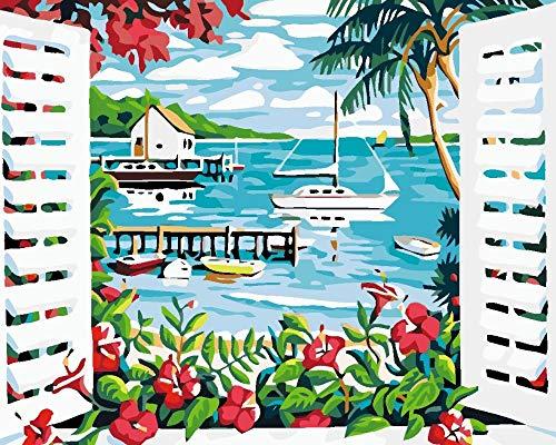 Digitale Schilderen door Getallen Kits Landschap Buiten Het Raam Olie Schilderen op Canvas Muurdecoratie voor Home Gift voor Nieuwe Accommodatie Bruiloft voor Volwassenen Kinderen Beginners