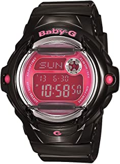 Women's Baby G Quartz 200M WR Shock Resistant Resin Color: Black with Pink Face (Model BG-169R-1B)
