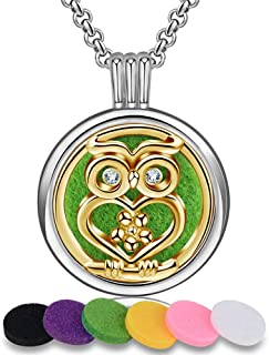 SKYKreation Aromatherapy Necklace Unique Style Perfume Essential Oil Diffuser Necklace Locket with 6 Aroma Reusable Cotton Diffuser Pads
