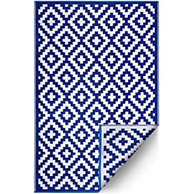 FH Home Indoor/Outdoor Recycled Plastic Floor Mat/Rug - Reversible - Weather & UV Resistant - Navy Blue/White (6 ft x 9 ft)