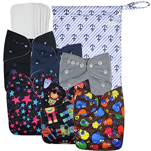 Wegreeco Washable Reusable Baby Cloth Pocket Diapers 6 Pack + 6 Bamboo Inserts(with 1 Muslin Receiving Blanket,Boy Prints)