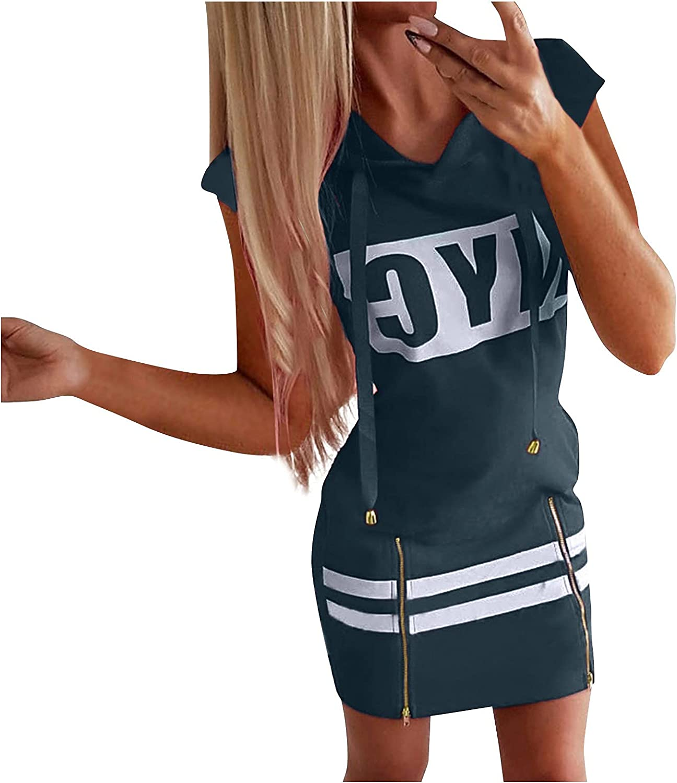 Sexy Summer Dresses for Women Wrap Mini Dress Side Ziper Slit Hoodie Dress Tshirt Bodycon Dress Casual Trendy Party Club