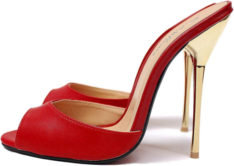 Damen Hausschuhe Slingback Slingback Sandalen Hoch Hacke Schuhe Schlüpfen Schwarz Rot Sommer Stilett Metall Satin Gucken Zehe Kleid Party Größe 40-48  am besten kaufen