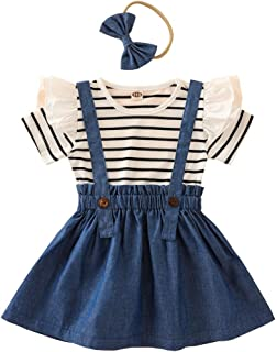 Zrom Baby Clothes Set,0-6 Years Toddler Infant Baby Girls Striped Romper Suspender Skirt Headband Outfits Set