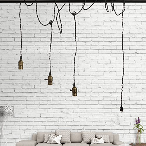 Vintage Triple Light Sockets Pendant Hanging Light Cord Kit Plug-in Light Fixture with On/Off Switch E26/E27 Base Retro Twisted Black Textile Cord for Industrial Light Fixture in Basement, Bedroom