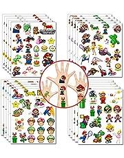 Mario Tijdelijke tatoeages Stickers Super Mario Feestartikelen Princess Peach Yoshi Cartoon Stickers voor meisjes Jongens Kinderen Videogame Feestartikelen (20 vellen, meer dan 400 stijlen)