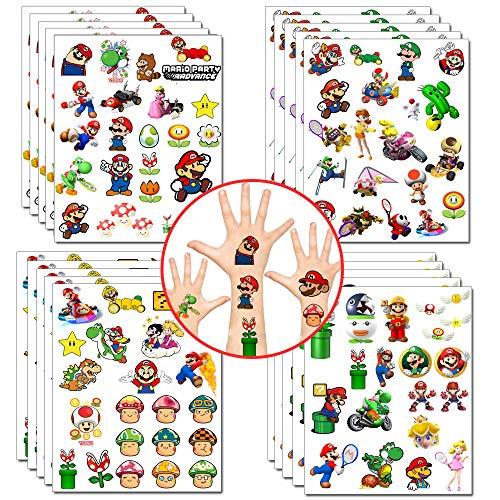 Mario pegatinas de tatuajes temporales Super Mario Party Favors Princess Peach Yoshi pegatinas de dibujos animados para niñas, videojuegos, suministros para fiestas (20 hojas, más de 400 estilos)