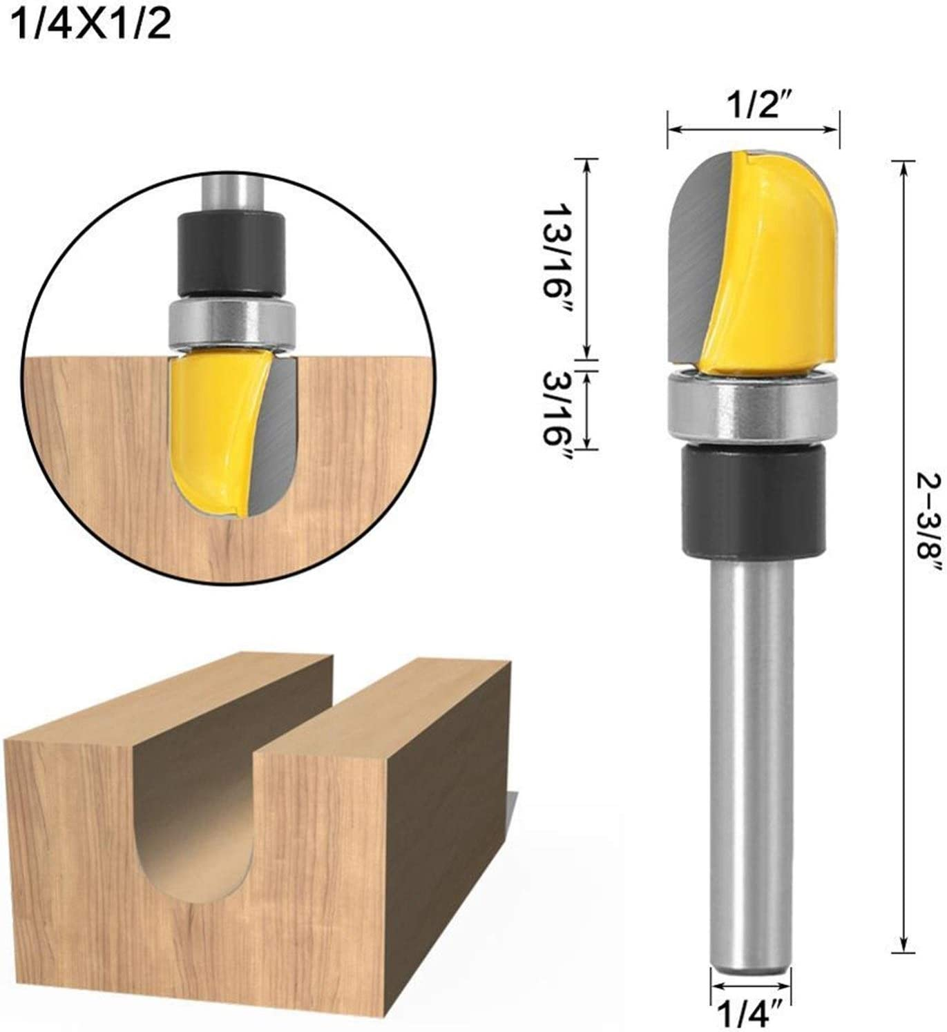 Jinchao-Router bits Cutting Edge Length : 6.35X12.7 6mm Shank Round-Nose Plunge Router Bit Shank Bearing for Woodworking Cutting Tool 1//4 1pc for Home /& DIY