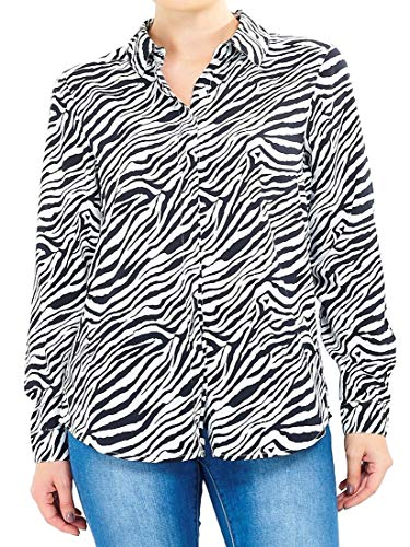 SS7 Womens Shirt Plus Size Zwart Wit Blouse Zebra Print
