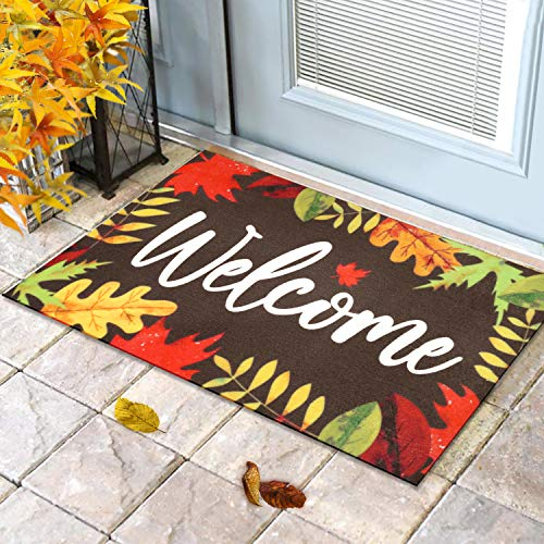 Fall Leaves Welcome Doormat Indoor Outdoor Home Front Porch Rugs Thanksgiving Carpet Gift Autumn Entrance Decoration Supplies 18 x 30 Inches