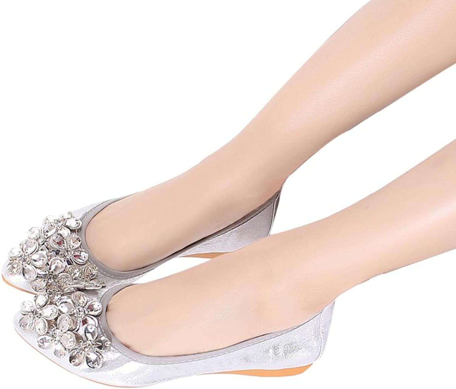 Fheaven (TM) Women Ballet shoes Leisure Rhinestone Loafers Flats shoes Princess Shiny shoes Slip On