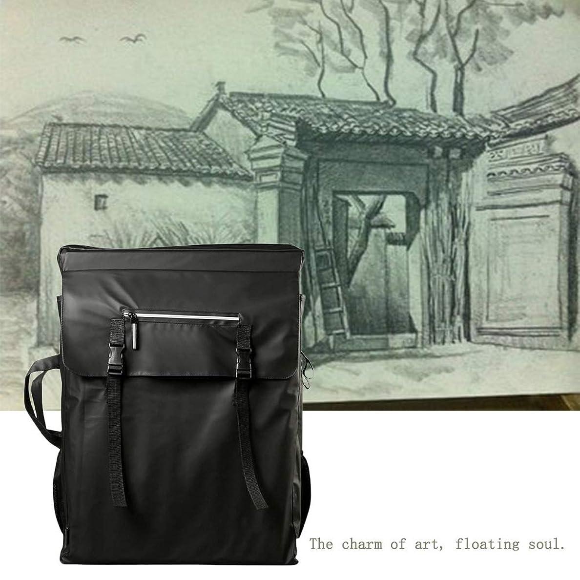 アシスト退屈なリングレットアートポートフォリオのケース防水アートバックパックスケッチブックスケッチパッド収納袋製図板のキャリーバッグ SHANCL (Color : Black)