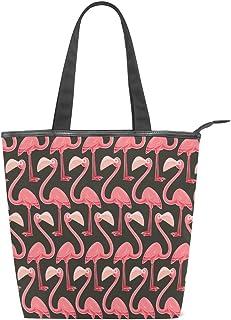 Mnsruu 43187619 Handtasche aus Segeltuch, für Reisen, Einkaufen, Schultertasche, Pink Flamingo_Original Sommerurlaub mit Reißverschluss
