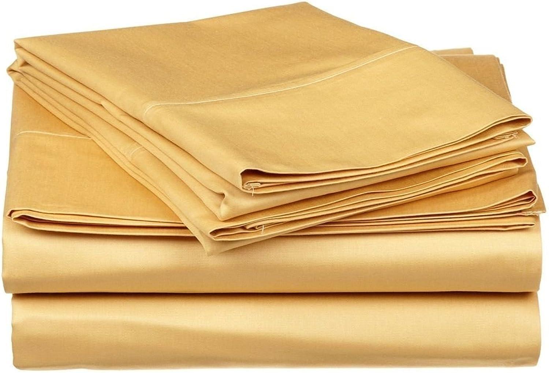 Tula Linen 1200Fils 4pcs de Feuille (Or Solide, UK Single (0,9x 1,8m 3in.), Format de Poche 30cm) 100% Coton égypcravaten de qualité Premium