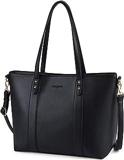 Bageek Handtasche Damen Schwarz Shopper Damen Groß Taschen Damen PU Leder Schwarzer Shopper Tasche Damen Schwarz Handtasch...