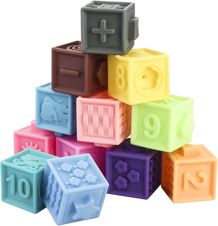 Phoenix Mall Funspread Import Baby Blocks 12PCS Building Toys Squeeze Te