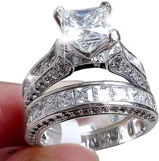 Zhiwen Lovely Ring -2-in-1 Womens Vintage Princess Cut Topaz Cz 10KT White Gold Filled White Diamond Silver Engagement Wedding Band Ring Set Size6-10 (US Code 7)