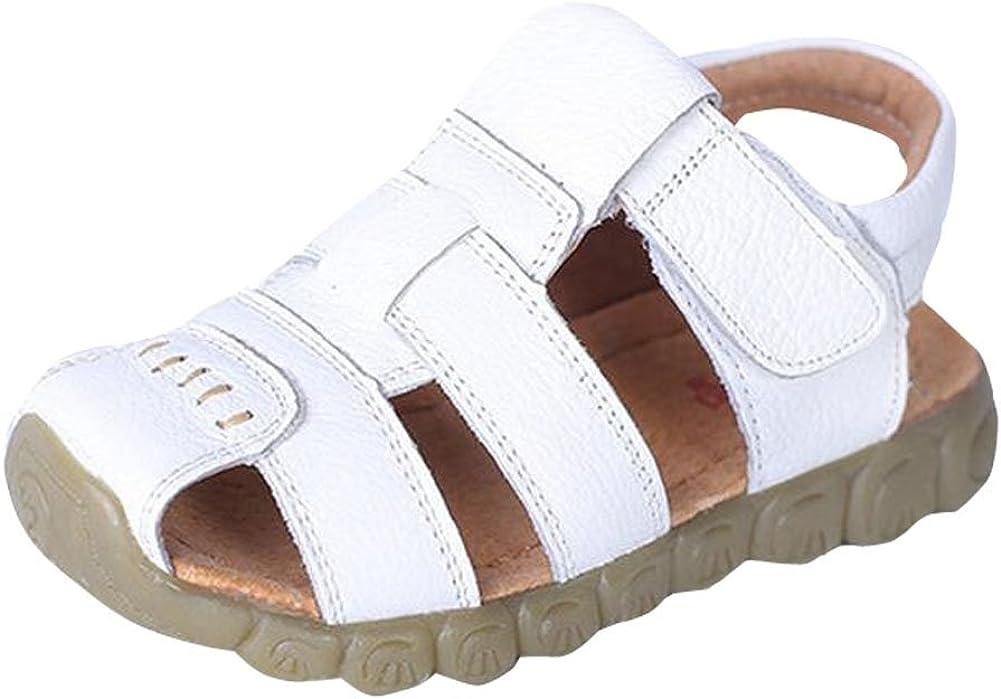 Bonaweite Boys Girls Closed Toe Genuine Leather Beach Flat Sandals Shoe for Kids
