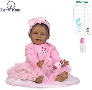Zero Pam Reborn Toddler African American Reborn Baby Girl Doll Black Soft Body Weighted Baby Dolls 22 Inch for Kids with A...