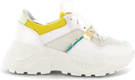 c724f571ce3d8f Basket Femmes Compensées - Chaussure Sneakers Bimatière Urban Talon Haut -  Tennis Casuel Lacet-PU
