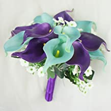 Lily Garden Wedding Floral Purple Calla Lilies with Crystals Berries Bling (Bridesmaid Bouquet)