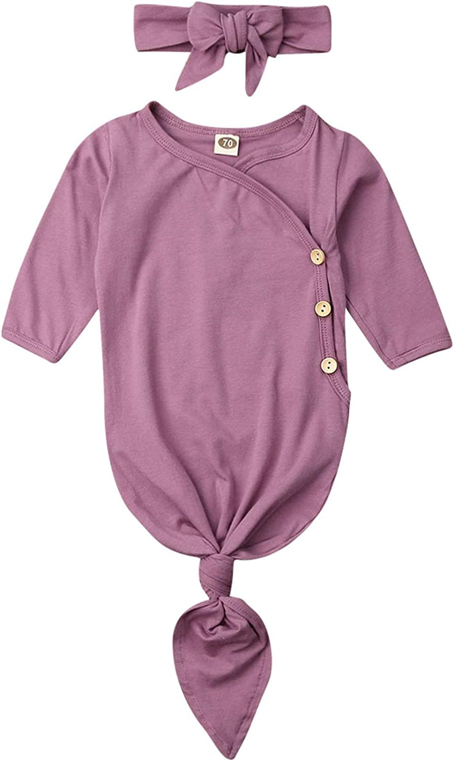 OFFer Infant Girls Nightgown Sleepwear Knotted Fees free!! with Long Button Romper