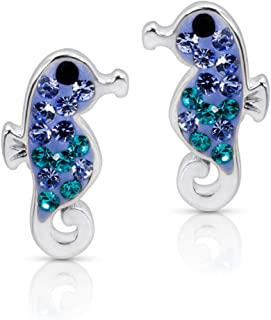 Blue Ocean Crystal Seahorse Earrings Never Rust 925 Sterling Silver Natural and Hypoallergenic Studs For Women and Girls w...