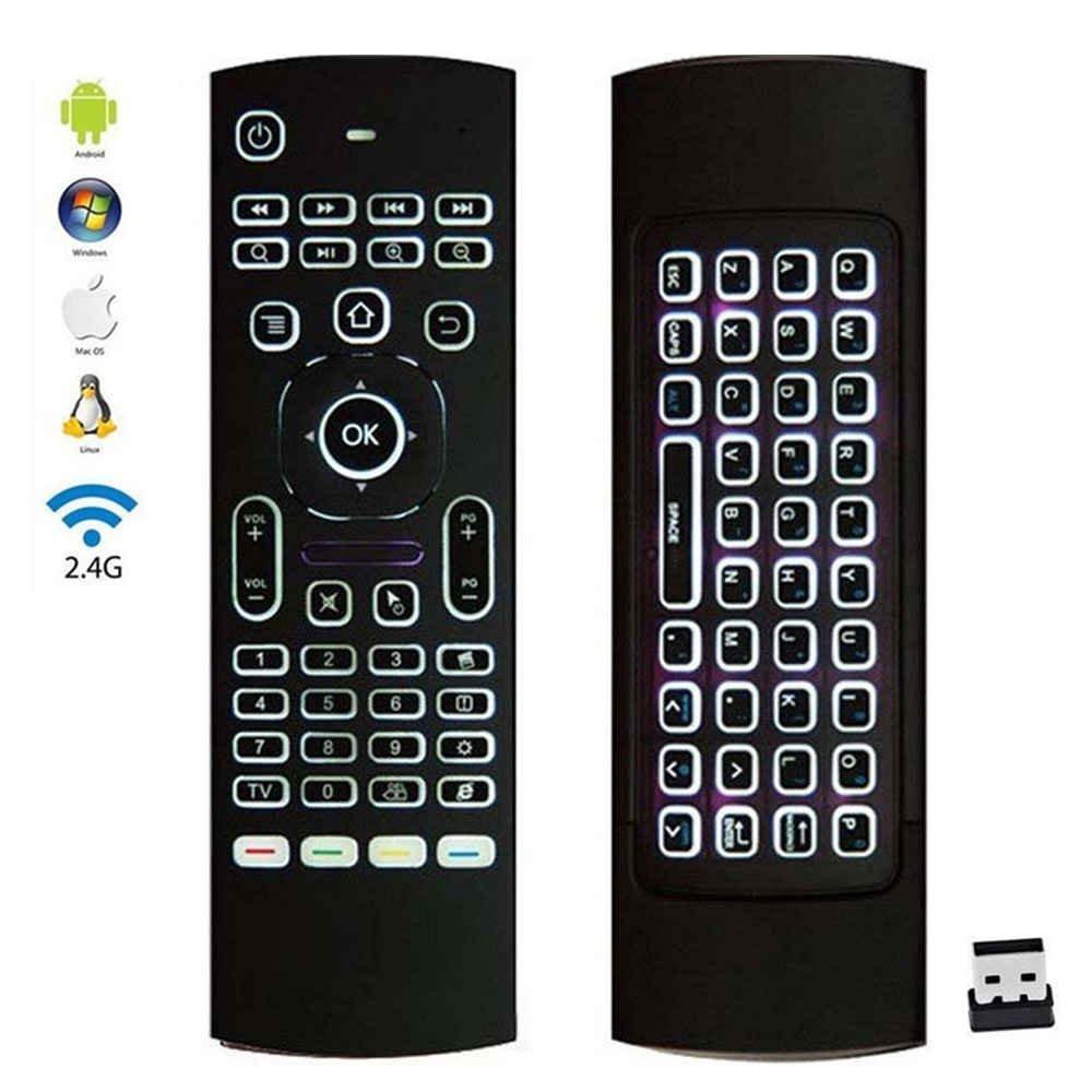 Retroiluminado, Air Mouse 2.4 GHz multifuncional control remoto con IR Aprendizaje inalámbrico Mini teclado para KODI TV Android TV Box, PC, Windows, IPTV, Mac OS, Linux, PS3, XBOX 360: Amazon.es: Electrónica