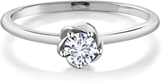 Gem Stone King 10K White Gold Timeless Brilliant (IJK) Round Created Moissanite Women Solitaire Engagement Ring (0.16 Ct, Available in size 5, 6, 7, 8, 9)